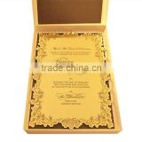 2016 Hot sale high-quality golden mirrorred acrylic wedding invitations with silk screen printing fond