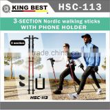 KING BEST 2016 Carbon trekking pole 3-Section Nordic walkin With Compass Telescopic Walking Stick