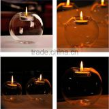 Unique design customized size clear high Borosilicate round candle holder fine wedding decoration