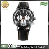 High quality number bezel three eyes six hands double buttons japan movt quartz watch