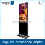 "Flintstone large floor standing temper glass hotel lobby 42"" digital signage display"