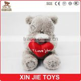 soft plush teddy bear toy with embroidered logo customize teddy bear plush toy with red heart stuffed teddy bear toy with logo