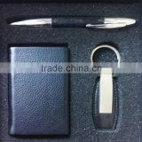 Leather and Steel Executive Gift Set - Pen, Keychain, Business Card Holder