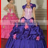 2012 New Designer Colorful Ruffled Flower Beaded Taffeta Hot Sale Quinceanera Dress Pageant Gown Made In China MLQ-294