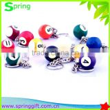 promotion gift hard resin billiards ball keyring /ball keyring/snook ball keyring