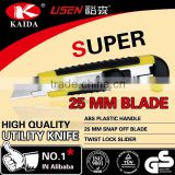 Plastic with rubber grip handle 25mm Snap-off Blade Utility Knife Screw lock cutter knife