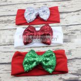 Sequined Bow Christmas Hairbands Solid Color Newborn Baby Girl Headband Soft Cotton Hair Bow Hairband Christmas Gifts For Kids