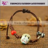 fashion new lady high quality animal style hand knitting ceramic cute hello kitty bracelet