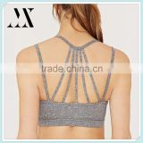 Low impact wholesale strappy back active sport bra removable cups fitness bra bra