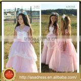 LBFG12 Sweet Mint Pink Crepe Formal Flower Girls Dresses 2016 Teenage Ball Gown Girls Christmas Dresses Formal Party