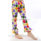 New coming casual dots bubble ruffle kids sweet clothing boutique childrens pants for girl
