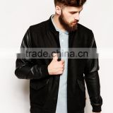 mens wool bomber jacket with PU sleeves