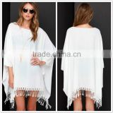 JPSKIRT1605056 2016 Newest Cheap Ladies White Sleeve Casual Bat-design Dress