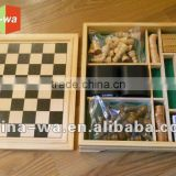 wood board game toy set (chess,checker,dice,domino,playing card)