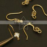 Diamond-Shaped Stone French Hook Ear Wires, Gold Plated over Brass/ 13.5mm