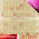 Iridescent concavo-convex glass mixed beige shell mosaic tile for house decoration