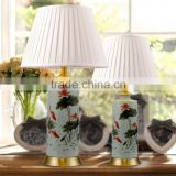 brass metal base Dragonfly and Lotus Leaf pattern animal porcelain table light with empire lampshade
