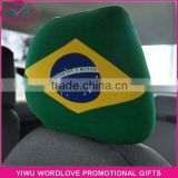 custom polyester&spandex printed elastic Brazil flag car headrest cover,Brazilian car headrest flag for fans
