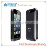 iFans For iPhone 5 battery case,2400mah external backup battery case for iPhone 5 with MFi