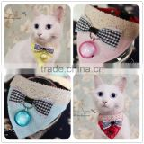 Lovely Small Pet Cat Bandana with bow tie and ring christmas pet collar bandana