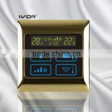 Good Quality IVOR Central Air-Conditioner Thermostat Digital AC Thermostat Switch SK-AC2000T Bright Gold Metal Frame