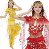 Wholesale red yellow sequin stage performance lady adult Indian Belly dance costumes