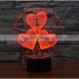 2017 Wholesale gift items Valentine's Day Gift 7color 3d Romantic LED Night Light Lamp 3d illusion lamp