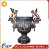 hot sale abstract bronze flowerpot with boys NTBH-S836X