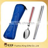 blue case camping stainless steel cutlery set