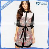 Long sleeve button up paisley shirt dress, spring new picture fashion spring short dresses