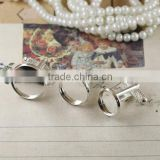12-20mm Silver Plated Thread Rod Round Blank French Cufflink Base For Glass Cabochon