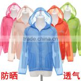 2014 New Wholesale Outdoor Women Sunscreen Breathable Hooded Jacket Waterproof Hiking Camping Skin Clothing