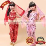 BestDance children belly dance costumes Sets Danse Shiny Sequins Metal Coins for KID Girl