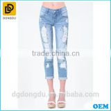 2016 Top Quality Soft Breathable Wholesale Slim Blue Casual Denim Pants for Lady