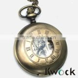 Colorworld Antique Roman Pocket Watch Pendant Bronze Dial Open Faced Roman Numerals with Chain Vintage