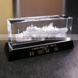 3d laser engraving ship inside crystal block ship themed souvenirs crystal ship
