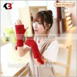 2016 Factory price adult knitted half finger gloves hand mittens cotton knitted gloves