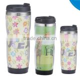 Promotion Diy inner Stainless steel outside plastic travel mug