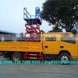 Euro IV DFAC double-row cheap light cargo truck mounted hydraulic aerial work platform 8-10M on sale