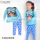 2015 New Wholesale Baby Girls Puteri Clothing sets Kids Autumn -Summer Pajamas Set Children Cartoon Clothes putery pyjamas