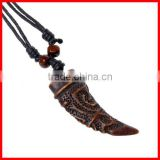 Cheap Cow Bone Pendant Necklace Wholesale Fashion Jewelry Adjustable Cotton Rope Necklace