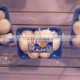 plastic packaging serving fresh mushroom tray
