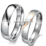 Silver plated 316L stainless steel wedding ring set for couple FQ-9034                                                                         Quality Choice