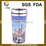 high qualily big branded paper insert insulated stainless steel travel coffee mug with lid