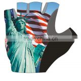 cycling glove/non-slip bicycle glove/pro bike glove men half finger pro team girl sexy image Statue of Liberty with USA flag
