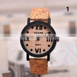 Creative Fashion Wooden Wristwatch Leahter Strap Quartz Analog Watches Movement Men Women Wood Watch Clock