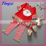 2015 Wholesale baby girls ruffle pants outfit autumn christmas baby girl clothes TR-CA46