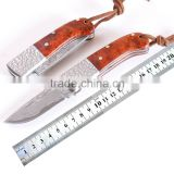 Red burl wood handle Damascus steel mini folding pocket knife collector knife
