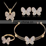 Fashion Lovely Elegant Butterfly Shining Gold Plated Rhinestone Necklace Stud Earring Bracelet Ring Set for Women Wedding Jewelr