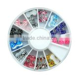 2015 hot selling multi-colored resin bow tie nail art decoration + wheel